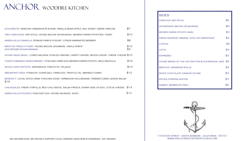 Breakfast Menu, Anchor Woodfire Kitchen, Santa Barbara