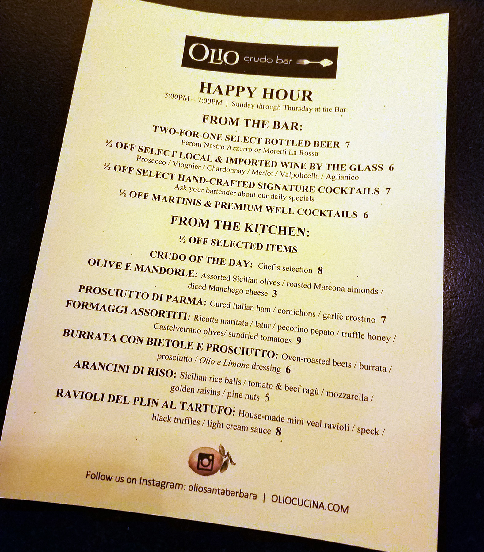 Olio Crudo Bar Happy Hour Menu